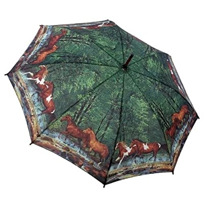 Beautiful Wild Horses & Spring Creek Auto Folding Tote Umbrella