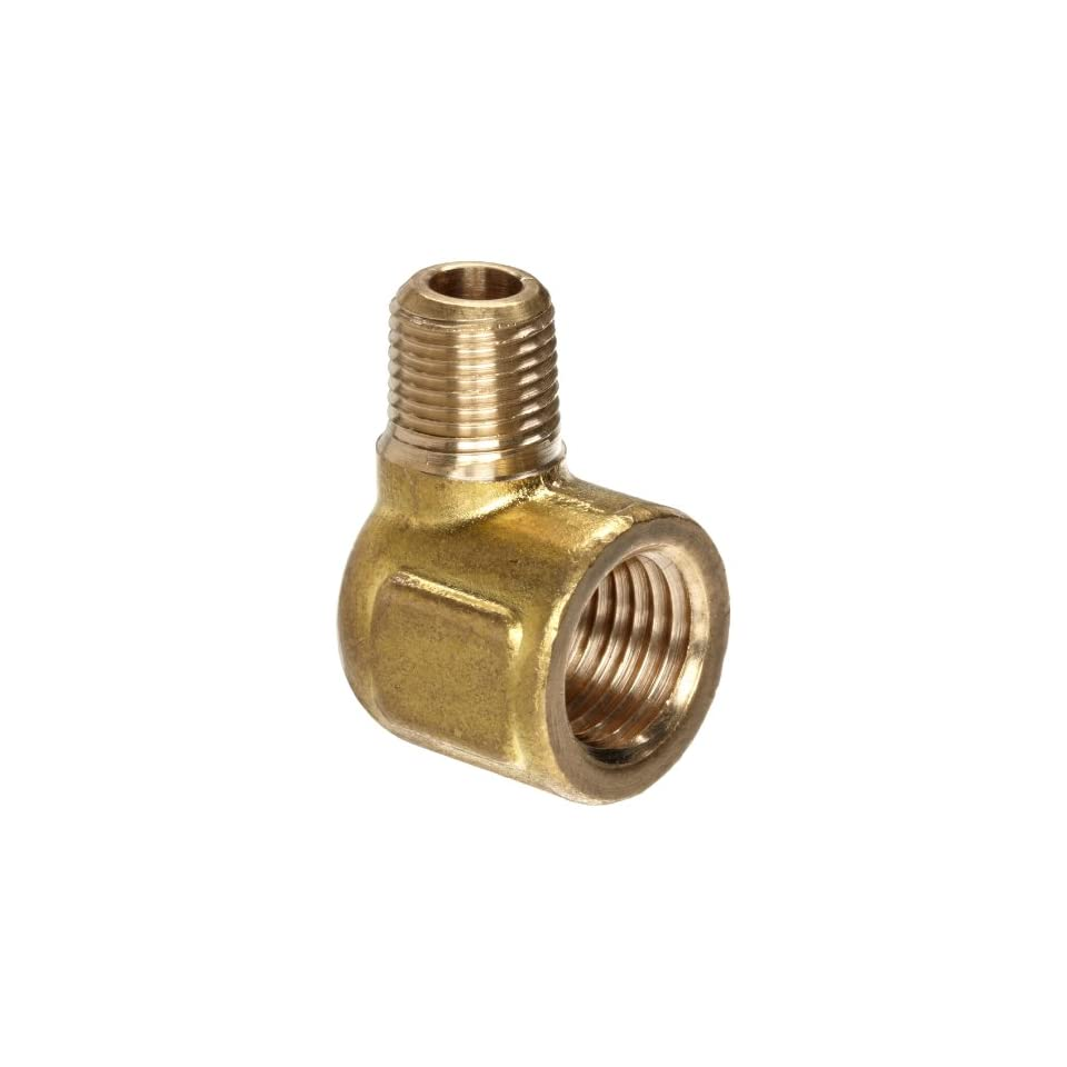 Anderson Metals Brass Pipe Fitting, Forged Reducing Street Elbow, 1/4 Female Pipe x 1/8 Male Pipe