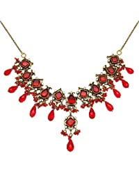 89.20 Grams White Cubic Zirconia & Red Glass Gold Plated Brass Victorian Necklace Set