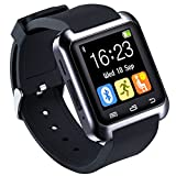 HopCentury Bluetooth Smart Watch Support Android Apk Notifier Android Cellphones with Sleep Monitor Pedometer Stopwatch Anti Lost Drink/Rest Reminder, Support iPhone with Partial Functions (Black)