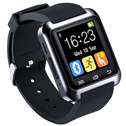 HopCentury Bluetooth Smart Watch for Android Cellphones with Calls Notifier Sleep Monitor Pedometer Stopwatch Anti Lost Drink/Rest Reminder, Support iPhone with Partial Functions Black
