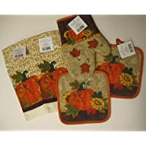 Pumpkin and Sunflower Kitchen Towel Set with Pot Holders and Oven Mitt