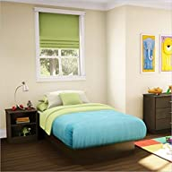 South Shore Libra Kids Chocolate Twin Wood Platform Bed 3 Piece Bedroom Set