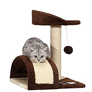 Ollieroo Small Cat Tree Sisal Scratching Post Furniture Playhouse Pet Bed Kitten Toy Cat Tower Condo for Kittens