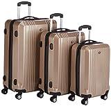 FERGÉ Dreier Kofferset CANNES - 3 Trolley-Hartschalenkoffer mit 4 Rollen champagner glänzend