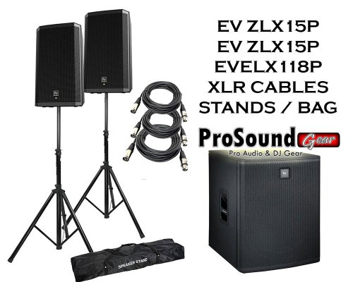 "Electro-Voice Zlx-15P 15"" 2-Way Powered Loudspeaker (Pair) / (1) Zlx118P Subwoofer / (2) Xlr To Xlr Cables 20Ft Ea / (Pair) Speaker Stand W/ Bag / (Prosoundgear Authorized Seller)"