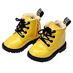 Infant Baby Shoes Mosunx(TM) Leather Ankle Boots Toddler Prewalker (21, Yellow)