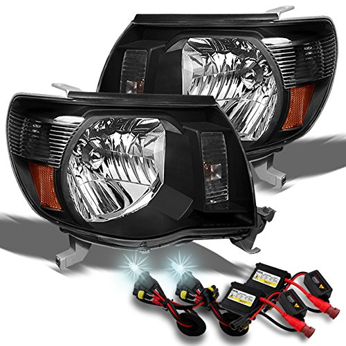 Toyota Tacoma OE Replacement Black Headlights Driver/Passenger Head Lamps +6000K Slim HID Xenon Kit (Toyota Tacoma Black Headlights compare prices)