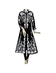 Black And White Fully Embroidered Georgette Party Wear Kurti