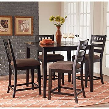 Standard Furniture Sparkle 5 Piece Counter Height Table Set in Brown Cherry
