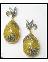 E-designs Rhodium / Gold Plated Earring With CZ Stone Alongwith Colour Stones Studded For Women - B00HNMOBD0