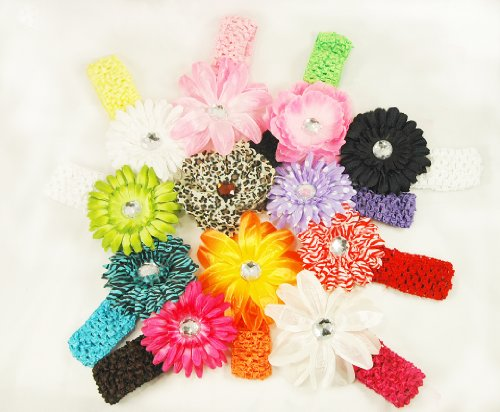 12 Assorted 3-in-1 Large Flower Hair Clip Bows with Soft Stretch Crochet Child Headbands fits Infant Baby to Toddlers to Youth Girls - Mix of Gerber Daisy Lily & Peony