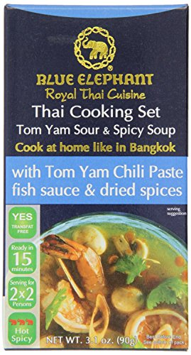 Blue Elephant Royal Thai Cooking Set Curry, 3.8 Ounce 110G (Tom Yam Sour&Spicy Soup, 3.8 Ounce)