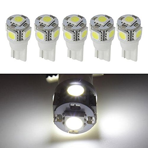 Partsam QTY(5) White 5-5050-SMD 161 194 LED Bulb for Clearance Cab Marker Light lamp (06 Gmc Sierra Cab Roof Lights compare prices)