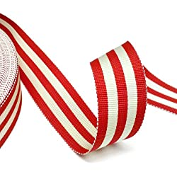 "10 Yards Grosgrain Stripe Ribbon 7/8"" Red & Off White"