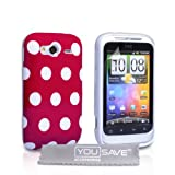 HTC Wildfire S Stylish Polka Dot Silicone Gel Patterned Case Cover And With Screen Protector Film Red White Spotsby Yousave Accessories