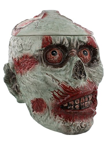 Zombie Skull Ceramic Cookie Jar Statue Figurine