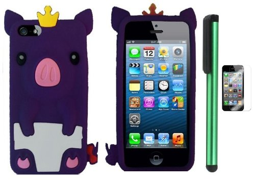 #!  Dark Purple Cute Pig Yellow Crown Silicone Skin Premium Design Protector Soft Cover Case Compatible for Apple Iphone 5 (AT&T, VERIZON, SPRINT) + Screen Protector Film + Combination 1 of New Metal Stylus Touch Screen Pen (4