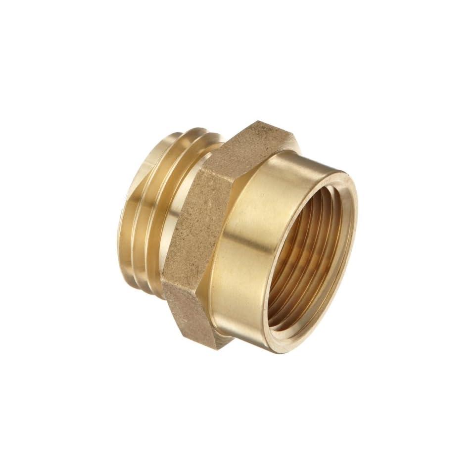 Moon 357 1061021 Brass Fire Hose Adapter, Nipple, 1 NPT Female x 1 NH Male