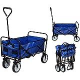 TMS® Folding Collapsible Utility Wagon Garden Cart Shopping Buggy Yard Beach Cart Toy Sports Blue