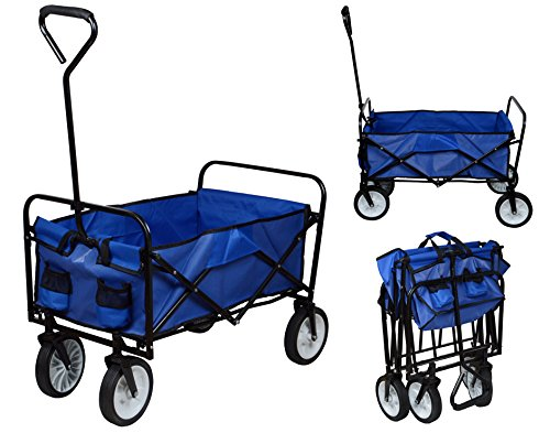 Folding Collapsible Utility Wagon Garden Cart Shopping Buggy Yard Beach Cart Toy Sports Blue front-324359
