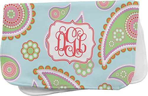 Blue Paisley Personalized Burp Pad front-778234