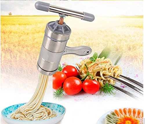 Awakingdemi Stainless Steel Manual DIY Kitchen Noodle Press Machine Vegetable Fruit Juicer Maquina Pasta Maker with 5 Noodle Mould (1 set) (Silver )