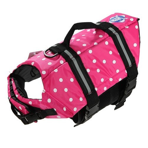 Assorted Color Choice Pet Dog Saver Life Vest Coat Flotation Float Life Jacket Aid Buoyancy Medium (Pink)