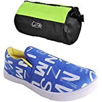Elligator Trendy RoyalBlue & Yellow Sneakers With Stylish Gym Bag Combo (Set Of 2)