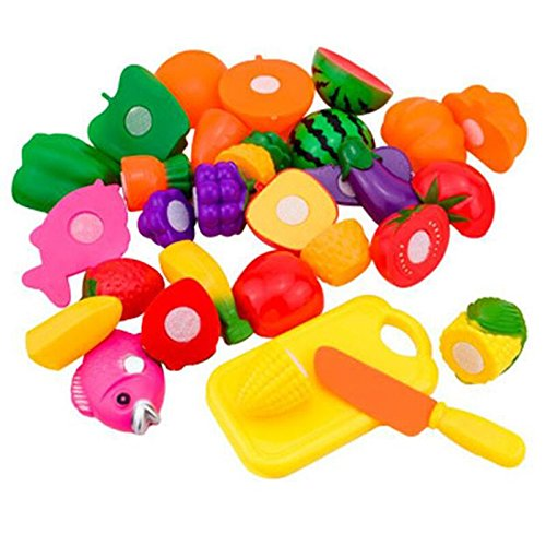 Schoolsupplies 16pcs/set Plastic Kitchen Food Fruit Vegetable Cutting Kids Pretend Play Educational Puzzle Learning Plastic Toy Satety