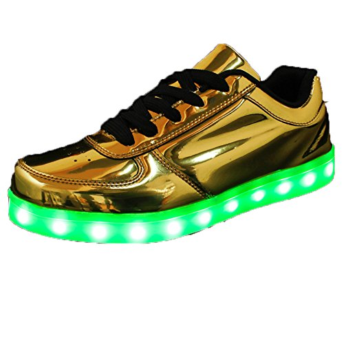 Oudy Men & Women 7 Colors USB Charging LED Shoes Nightclub Flashing Sneakers Golden US 6.5