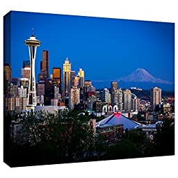 ArtWall Cody York \'Seattle and Mt. Rainier\' Gallery-Wrapped Canvas Artwork, 12 by 18-Inch by ArtWall