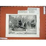 Impresión Antigua de la Bella Arte Sajona del Árbol de Navidad de 1881 Sepulcros del Cementerio