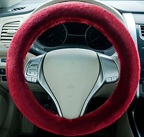 Red Wine Steering Wheel Cover Super Warm and Fluffy High Quality Plush Cover Imitation Wool Universal Car Accessories 15