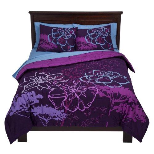 Room Essentials 174 Floral Comforter Purple Xl Twin