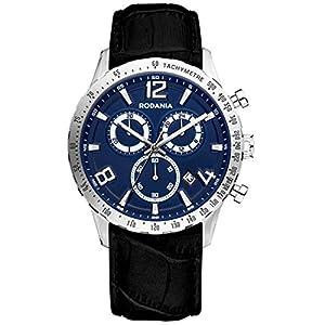 RODANIA 26086-29 42mm Stainless Steel Case Black Calfskin Mineral Men's Watch