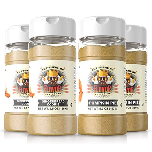 #1 Best-Selling 5Oz. Flavor God Seasonings (4 Bottle Gingerbread Cookie + Pumpkin Pie Combo)