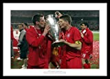 Framed Steven Gerrard & Jamie Carragher Liverpool 2005 Champions League Final Photo Memorabilia