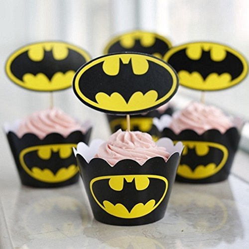Set of 12 Batman Kids Birthday Party Paper Cupcake Liner Wrap Wrappers with Toppers - 1