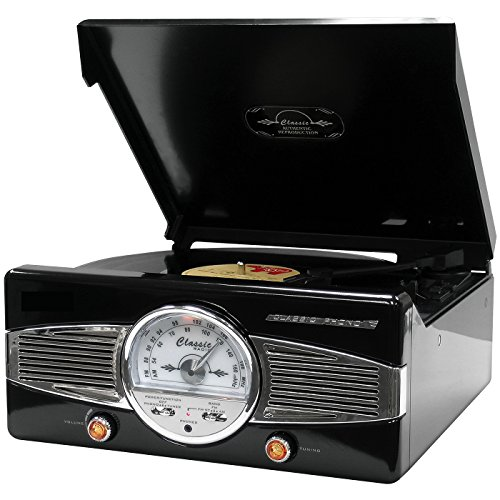 Turntable Classic Vinyl Record Player with FM Radio & Built-in Speakers Converts Vinyl into MP3 Digital Files (Black)