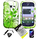 4 items Combo: ITUFFY LCD Screen Protector Film + Mini Stylus Pen + Case Opener + Silver Green Vine Hawaiian Flower Design Rubberized Snap on Hard Shell Cover Faceplate Skin Phone Case for Samsung Galaxy Centura S738C / Samsung Galaxy Discover S730G (Straight Talk / Net10/ TracFone)