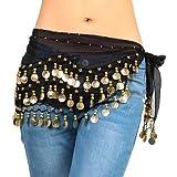 Black Belly Dance Hip Skirt Scarf Wrap Belt Costume