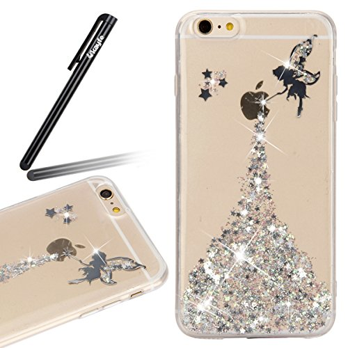 iPhone SE Case,iPhone 5S Case,iPhone SE 5 5S Crystal Clear Bling Glitter Case,Ukayfe Fairy Angel Girl Pattern Ultra Slim Transparent Soft Gel TPU Silicone Bumper Case Cover for iPhone SE 2016 & iPhone 5 5S (Silver)