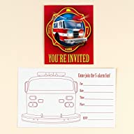 Fire Trucks Invitations (8)