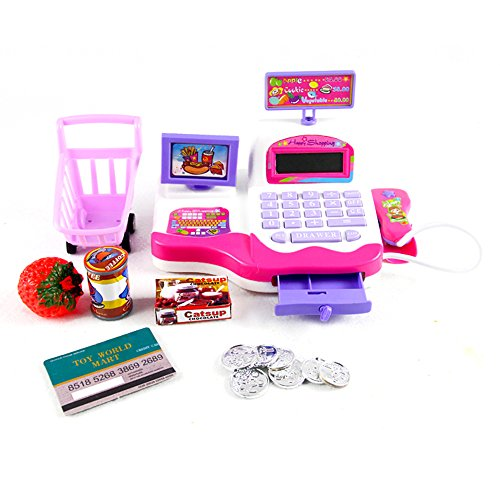 Babrit Grown Pretend Play Electronic Cash Register Toy Realistic Actions & Sounds Pink (Girls Toy Cash Register compare prices)