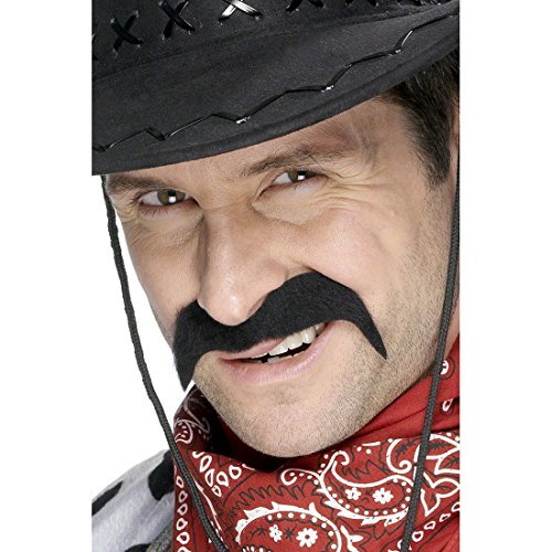 Oberlippenbart Cowboy Bart schwarzer Schnauzer Mexico Bart als Kostüm Zubehör