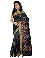 Roopkala Black Raw Silk Embroidery Saree