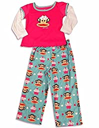 Paul Frank - Little Girls Long Sleeve Monkey Pajamas, Pink, Teal 28210-2T