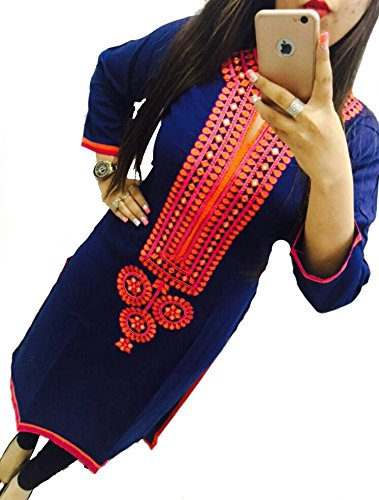 Selfie-style-Trendy-Blue-color-Georgette-Embroidery-semi-stitched-kurti