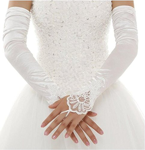 YSFS Women's Satin Long Bridal Gloves For Wedding Prom Party White